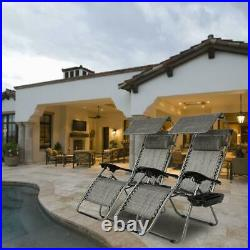 Zero Gravity Folding Patio Lounge Beach Chairs with Canopy Cup Holder