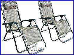 Zero Gravity Lounge Chair with Adjustable Recliner Padded Head Rest Set of 2
