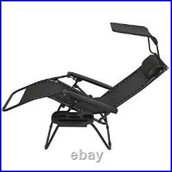 Zero Gravity Metal Sun Lounger Black NDD + Cup Holder Sun Shade Reclining Chair