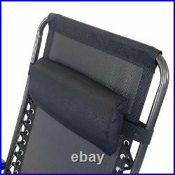 Zero Gravity Metal Sun Lounger Black Next Day Reclining Garden Deck Chair