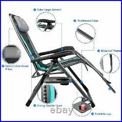 Zero Gravity Recliner Oversize XL Padded Patio Lounger Chair Adjustable Headrest